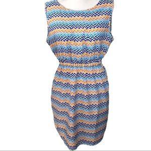 🎀 True Rock Chevron Print Multi Color Dress- L